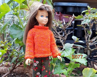S077 Orange sweater with pants for Skipper doll, little sister of Barbie