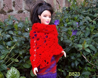 Barbiedress with red shawl