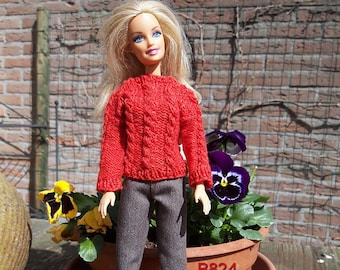 Handknitted red sweater with brown denim pants for 1:6 scale dolls like Barbie