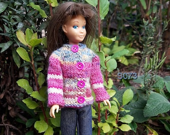 S073. Handknitted sweater/cardigan with blue denim pants for the original Skipperdoll, Barbie's little sister.