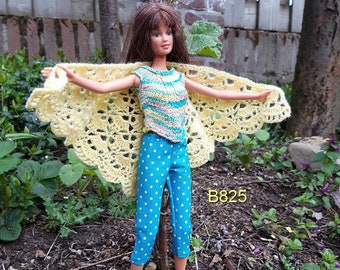 Clothes for 1 to 6 scale dolls like Barbie: top, pants, shawl/wrap