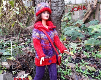 homemade cardigan, pants, hat and shoulderbag in red and purple for 1 to 6 scale dolls like Barbie