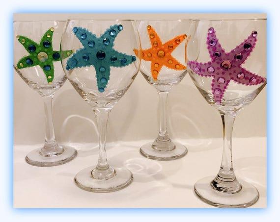 Beach Wedding Wine Glasses Starfish Wine Glasses Etsy
