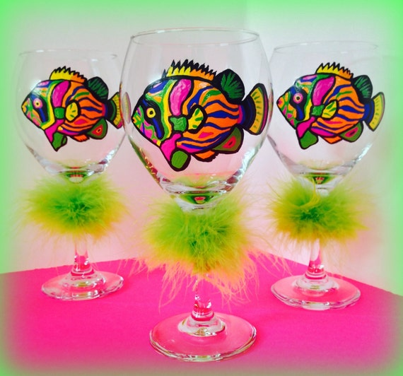 Painted Wine Glasses Fish Painted Glasses Wine Glasses With Etsy
