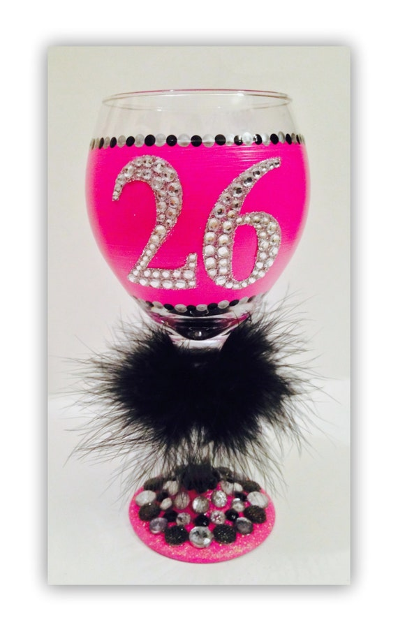 Birthday Girl Wine Glass Hand Painted Glasses