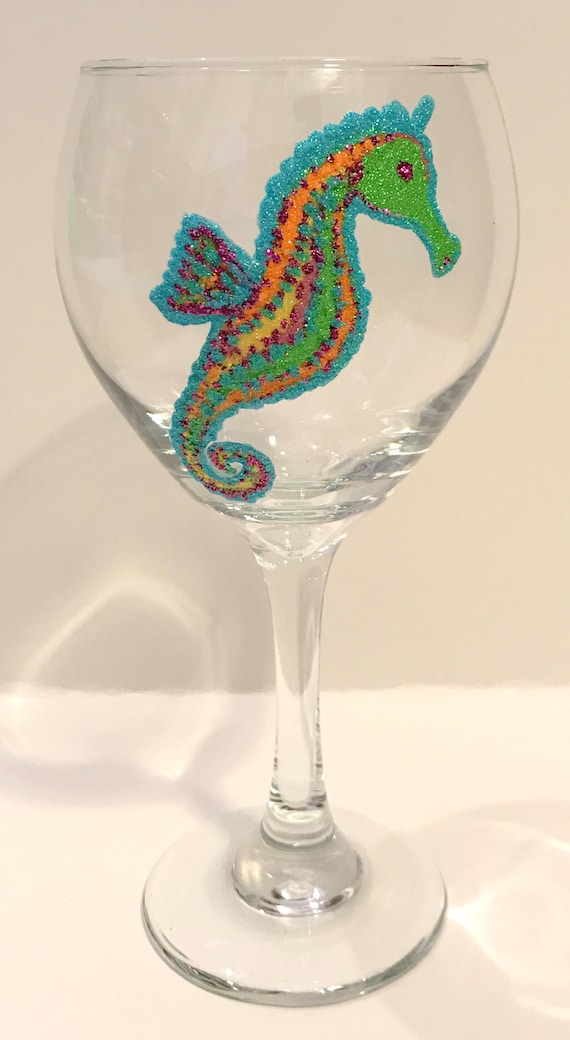 Seahorse Hand Painted Wine Glasses Beach Glasses Colorful Etsy