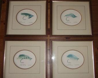 Set of 4 Vintage Framed Prints - Salmon Fly Fishing Flies by John D Watmaugh.