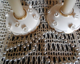 "Vintage Commodore Japan 1950's ""Elegant Wedding""  Ivory Candle Holders set of 2"
