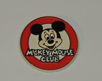"VTG Mickey Mouse Club Walt Disney 2"" Plastic Advertising Button"