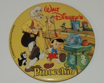 "VTG Walt Disney Pinocchio 3 1/2"" Advertising Button"