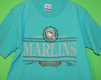 VTG 1992 Florida Marlins Trench Men's Size L Large MLB Baseball Crewneck T Shirt