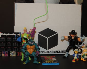VintageGeekBox - One-Time Purchase: Surprise Curated Box with Ninja Turtles, Ghostbusters, WWF / WWE, Duck Tales, More Toys!
