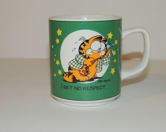 """1978 Garfield """"I Get No Respect"""" Green Cartoon Coffee / Tea Mug"""
