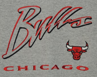 VTG Chicago Bulls Lee Sport / Nutmeg Mills Men's Size L Large Gray Embroidered Crewneck NBA Basketball T Shirt