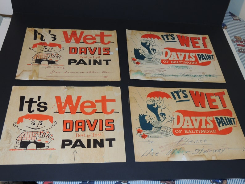 PA Paper Advertising Signs As-Is Lot Of 5 Davis Paint Of Baltimore  Schaeffer Hardware Bellefonte