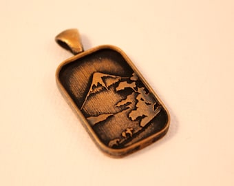 Mount Fuji Pendant in Bronze