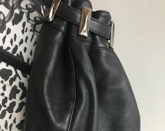 Genuine Black Leather Backpack Sack Enzo Angiolini Club Kid Metal Grommets Zip Pull Closure