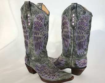 Corral  Western Boots Womens Size 10 Tall Leather Gray Purple Wings Laser Cut