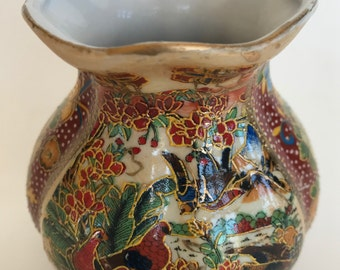 Hand Painted Small Vase Gilt Raised Dots Panel Low Relief Floral Birds China Vintage