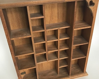 """Wall Curio Cabinet Open Shelves 29 Miniature Collectible Display Vintage Wood Handcrafted 17""""H"""