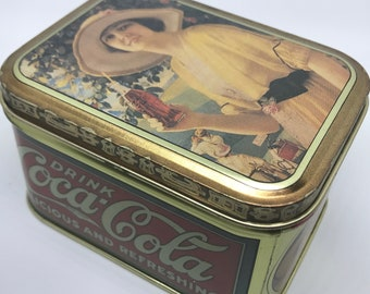 """Drink Coca Cola Delicious and Refreshing 1984 Bristol Ware Vintage Tin Rectangle Small 4""""x3""""x2.5"""""""