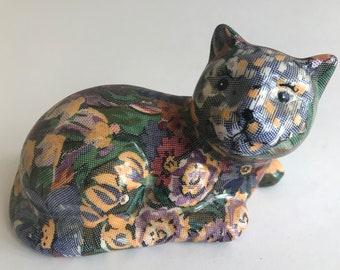 """Decoupage CAT hand crafted hand made floral pattern blue yellow figurine 7"""""""