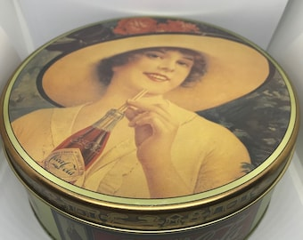 """Drink Coca Cola Delicious and Refreshing 1988 Vintage Tin Round Large 7"""" Woman Hat Bottle Straw"""