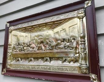 "Antique Last Supper 3D High Relief Bas M Registrado 28""x17"" Copper Gold Plaque Wood Frame"