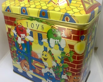 Collectible M&M Christmas Village Series TOY SHOP 1996 Limited Edition Tin