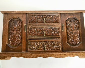 """Mid-Century Wooden Music Jewelry Chest Box Royal Sealy Gimbels Ornate Vintage Japan 6lb 16x9x6"""""""