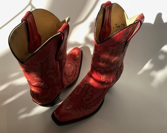 Corral Western Boots Women's 10 Leather Red Embroidery Mid Calf Super Cool