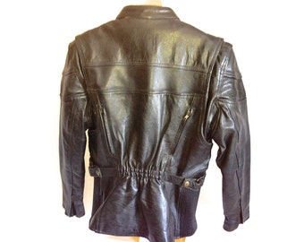 Motorcycle Jacket Black Leather Gallery Women's L Unique Ruched Zip Off Liner YKK