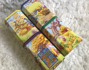 """Disney Winnie The Pooh 4 Large Tin Cookie Canisters 6.5""""H Denmark Excellent"""