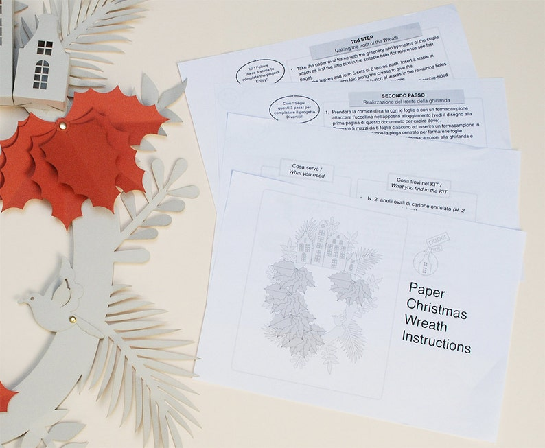 paper craft Holiday Wreath Christmas decor DIY Wreath KIT 3D Paper Wreath DIY kit Paper leaves Wreath Papercraft Wreath