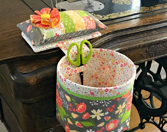 Thread Catcher - Scrap Catcher Sew In Style with Detachable Pincushion, Scissor Holder - Curry Bungalow - Flower Pins - Great Gift Idea