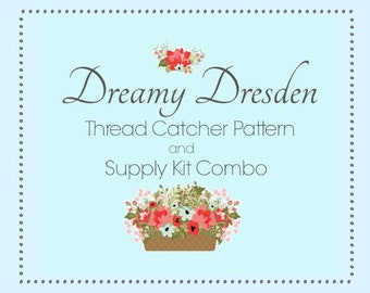 Dreamy Dresden Thread Catcher Tutorial Sewing Pattern and Supply Kit Combo for Sewing Accessory from Curry Bungalow