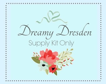 Dreamy Dresden Thread Catcher Supply Kit - to make  Pincushion Scrap Bag Combination - Sewing Accessory from Curry Bungalow