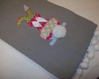 Decorative Tea Towel/ Appliquéd Tea Towel/Easter Tea Towel/