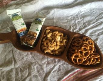 Pea Shaped Monkey Pod Wood Serving Dish