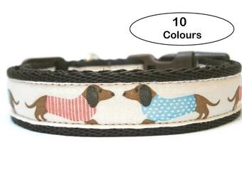 Dachshund Dog Collar, Wiener Dog Collar, Doxie Puppy Collar, Adjustable Cushioned Webbing Dog Collar, Quick Release Clip, 4 Collar Sizes