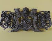 Antique French Solid Cast Iron Pediment 1800s - French Antique Fronton, Decorative Pediment, Architectural Salvage
