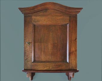 Vintage French  Solid Walnut Wood Wall Cabinet - L8