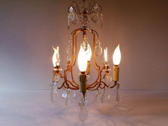 Kronleuchter Glühbirne ~ Antike französische käfig kronleuchter 4 glühbirnen massiver etsy