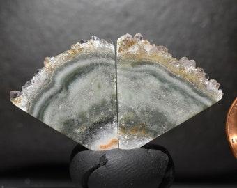 Quartz Chalcedony Raw Crystal Druzy druse Cabochon Cab pair