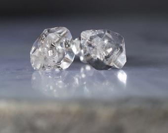Herkimer diamond post Earrings with Herkimer diamond quartz crystal, 6- 9 mm Herkimer stud earrings Lightweight Sterling