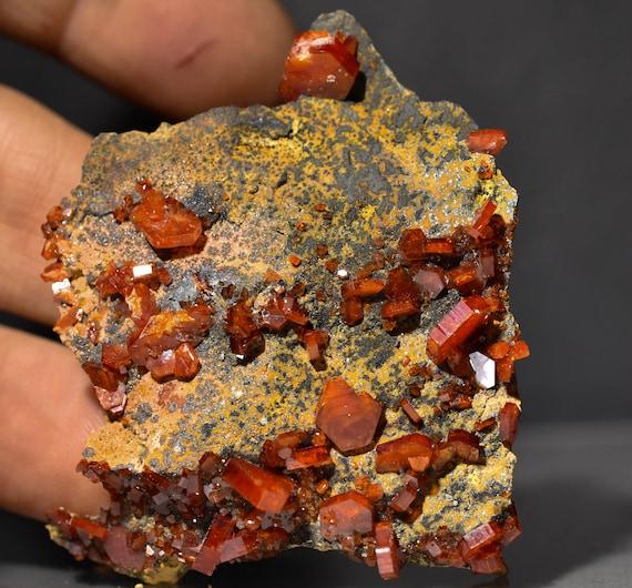 Vanadinite cristaux dans dans dans la matrice de goethite, brut naturel Cluster Maroc e2dc3e