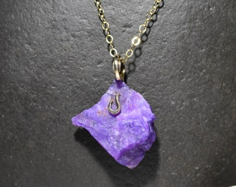 Sugilite gemstone pendant Necklace In 14 KT solid Gold  Wire Wrap
