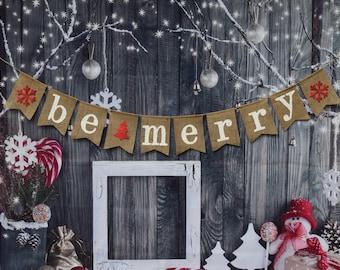 be merry burlap banner christmas banner christmas photo prop christmas decoration - Burlap Christmas Banner