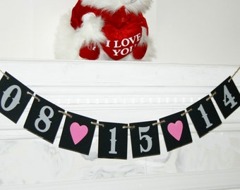 The DATE Wedding Banner - Engagement Party Decoration - Photo Prop