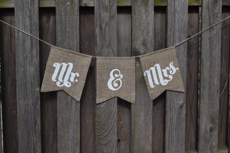 zoom Banner Burlap Mr Mrs Wedding Sign